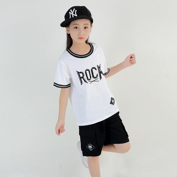 "Kids Hip Hop Clothes Summer Style ""Rock"" White Short Sleeve Hiphop T Shirt Black Short Pants Girls Boys Streetwear"