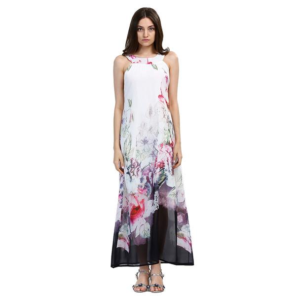 2018 Beach Boho Maxi Dresses Print Floral Plus Size Beach-to-Bar White Long Dress Sleeveless Summer Sundress Vestidos Beachwear Tunics Robe