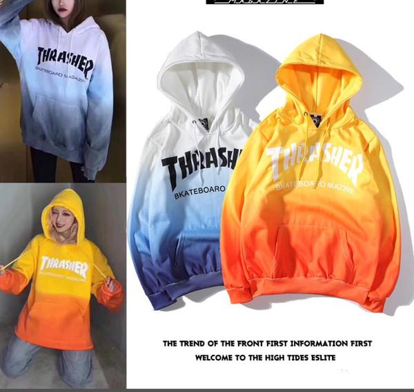 3f30078b 19FW USA popular logo Thrasher flame tie-dye gradient hoodie for both men  women hoodie
