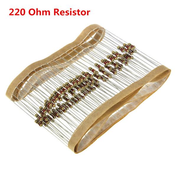 100Pcs/lot 220 Ohm 1/4w Metal Film Resistor Watt 0.25W 1% 220OHM