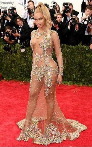 2019 NUEVO Sheer Beaded Evening Dress Beyonce Met Ball Alfombra roja Desnudo Celebrity Dress See Through Formal Sweep Train Backless