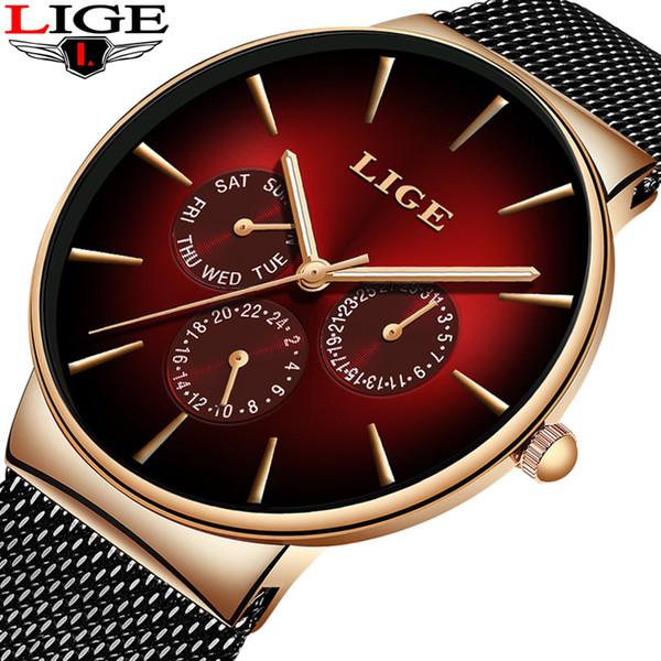 2019 Nuovo orologio rosso all'ingrosso Orologi da uomo Top Brand Luxury Casual Cintura a rete in acciaio inox Orologio al quarzo per gli uomini Sport