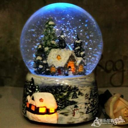 Snow House Christmas Snow Globe Crystal Ball Rotate Light Voice Control Music Box Castle In The Sky Birthday Gift for Girlfriend