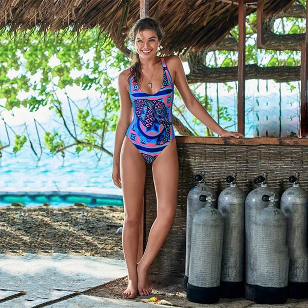 07d36ffe7c2 Back Weaving One-piece Suits Elephant Geometry Print Swimsuit Push Up 2018 Bathing  Suit Women