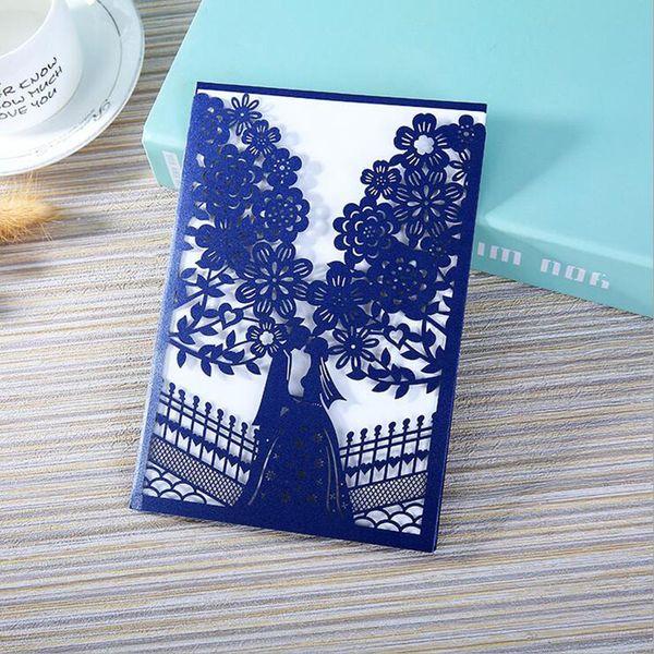 100 pcs Azul Vermelho Laser Cut Convites De Casamento Cartão de Árvore Elegante Cartão de Saudações Personalizar Envelopes Festa de Casamento Favor Decoração