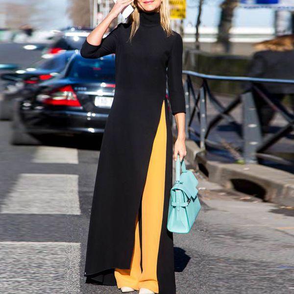 Damenmode Plus Size Maxikleid Asymmetrisch Western Style Rollkragenpullover Stretchy Schwarz Strick Oversize Langes Kleid MX190725