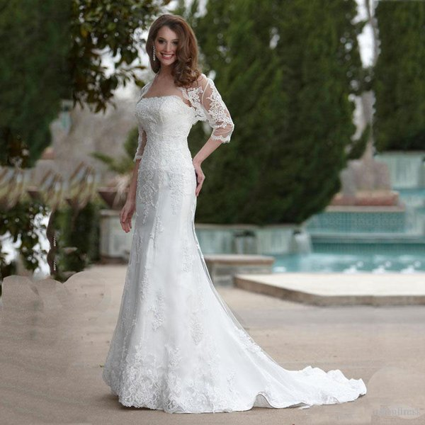 Classical Lace Mermaid Wedding Dress 2019 Gorgeous 2 Pieces with Jacket Bride Dress Custom Made Bridal Wedding Gowns within Train Dresses