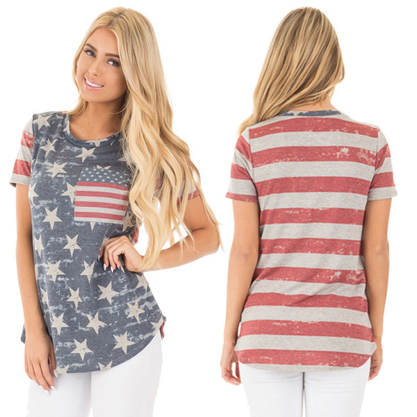 Lady Short Sleeve T-Shirts Women Striped Tops Stars Printing Casual Tops American Flag Independence National Day USA 4th July With Pocket