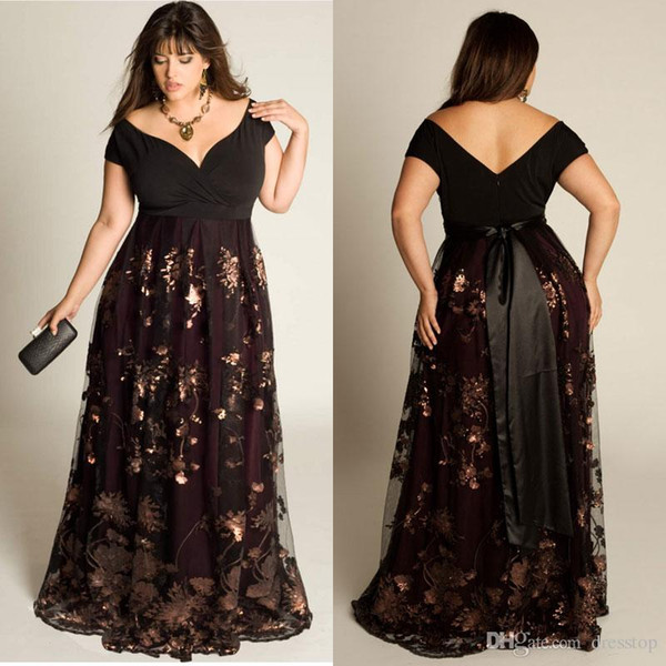 Cheap Plus Size Evening Dresses Short Sleeves A-Line Off The Shoulder Prom Dress Sequins Appliqued Floor-Length Special Occasion Gowns