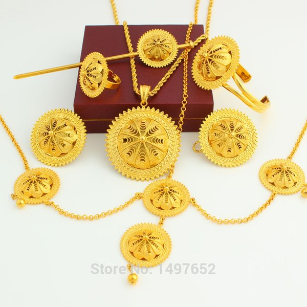 New Arrival Ethiopian Big Size Jewelry sets / Gold Color Romantic Fashion Jewelry African Wedding Bridal Sets for Women
