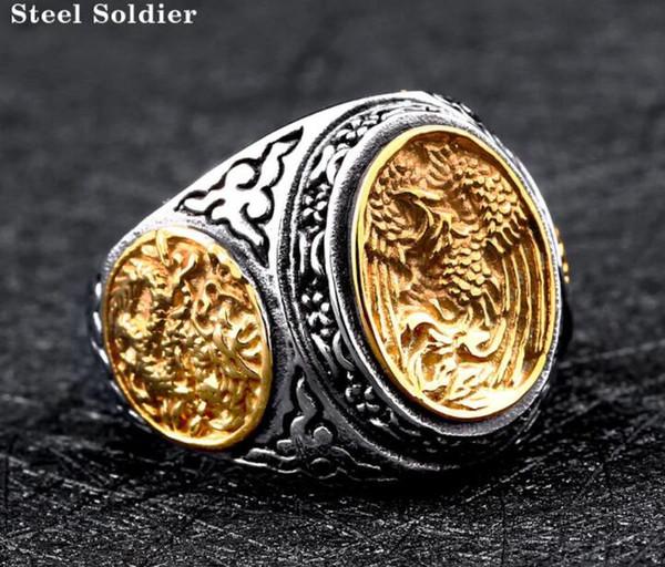 Titanium aço jóias atacado aço inoxidável anéis prata inlay dragão peça vendendo comércio exterior na Europa e América