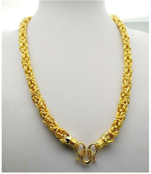 Mixed Style 24K Yellow Gold Filled Men Chain Necklace Colorfast Fake Gold Chains Jewelry Multi design for Choose