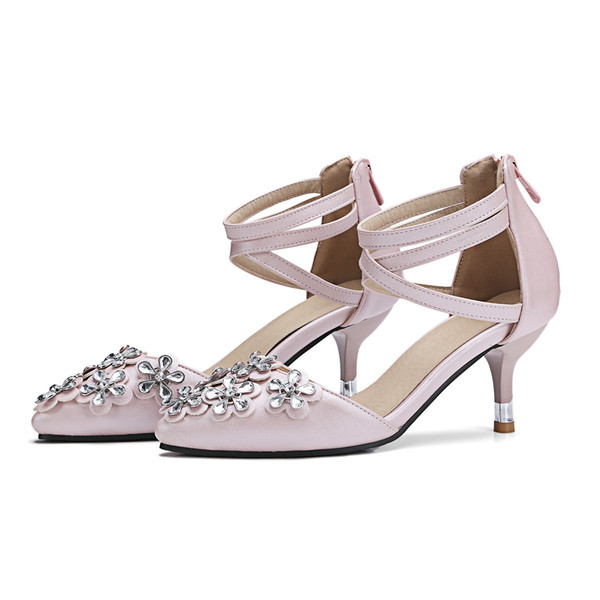 Sexy2019 England Sweet Flower Decorate Sharp Package With Trip Bring Sandals School Wind Women's High-heeled Shoes You G68