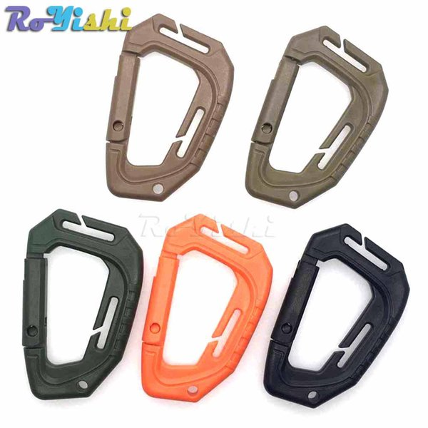 50pcs/lot D Shape 200LB Plastic Snap Clip Carabiner Mountaineering Buckle Outdoor Hanging Keychain Hook Climbing Accessories