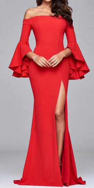 2019 Mermaid prom dresses Saudi Arabian Design Red Sweetheart Satin Floor Length Evening Dresses Custom Made Prom Dress