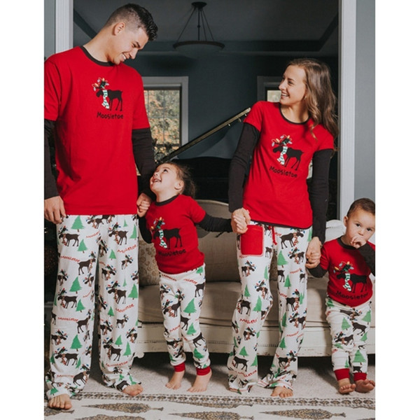 Zogaa 2018 Christmas Print Parent-child Suit Full Length Father Mother Child Family Clothing 2 Piece Tops And Pants Sets C19040201