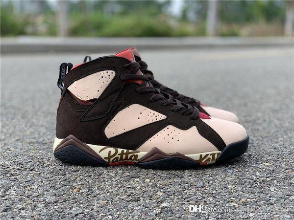 2019 Patta x Air 7 OG SP Shimmer Retro Tough Red-Velvet Brown Mens Basketball Shoes 7S Authentic Sequoia Light Crimson Sneakers AT3375-200