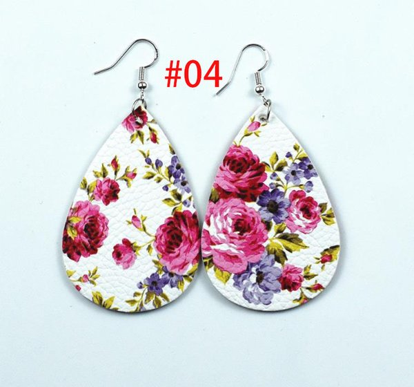 Hot sale 6Colors Rose Flowers 925 Silver Plated Hook Teardrop Leather Earrings Faux soft eather Water Drop Earring BOHO