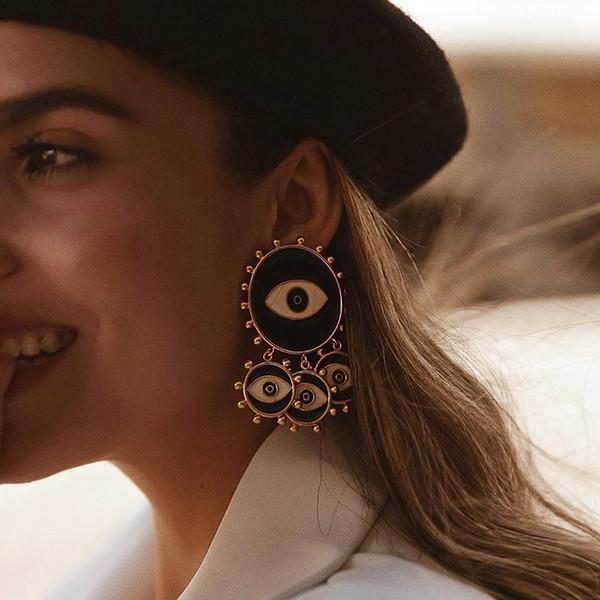 amorcome vintage black evil eye tassel statement earring 2019 punk jewelry exaggerated enamel eyes large drop earring wholesale