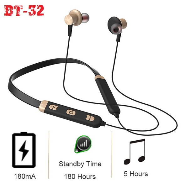 Sports BT-32 Neck Band handset Wireless earbuds Bluetooth headphones stereo Earphone noise cancelling perfect sound quality with package