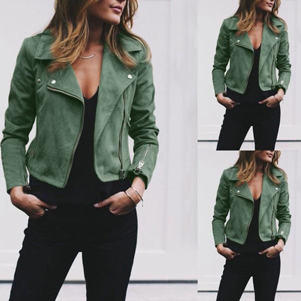 Herbst Winter neue Frauen Mantel Revers Anzug Kragen PU Lederjacke Slant Zipper und kurze Damen Top