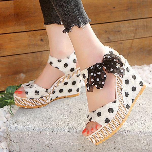 Women Sandals High Heel Fashion Shoes Ladies Platform Wedges Heel Sandals Fashion Dot Lace-up Shoes Footwear Ladies Sandals