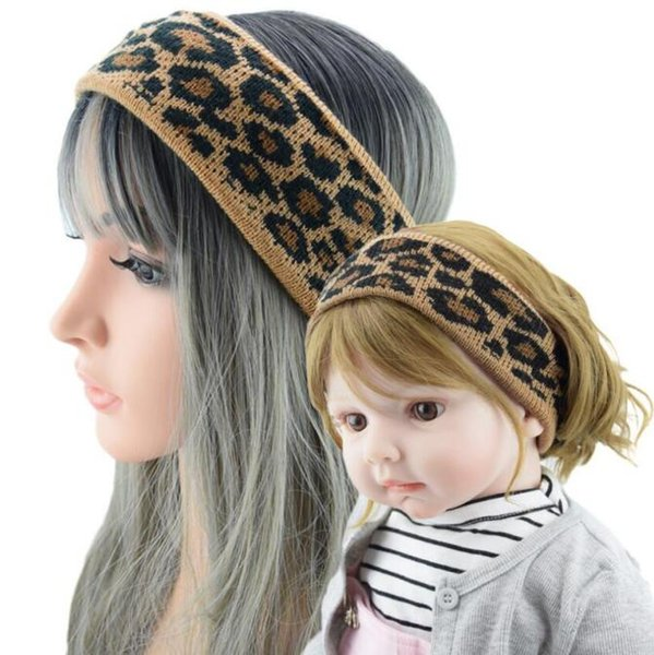 Leopard knit Knitted Headband Bowknot Elastic Parent-child Headband Winter Warm Wide Border Cross Hair Accessories WY366
