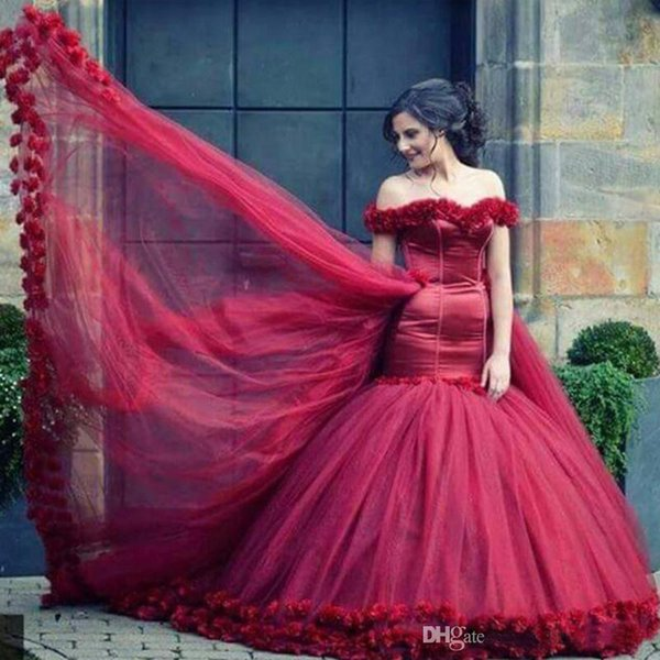 3D Flowers Mermaid Wedding Dress Off Shoulder Wedding Gown Dark Red Bridal Dresses Puffy Bridal Gowns