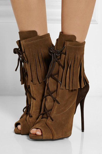 New Fringe Women Boots With Thin Heels Peep Toe Shoes For Woman Lace up High Heel Size 34-42 Spring Ankle Boots Sexy