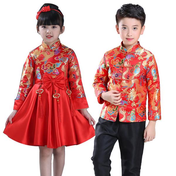 Bambini Cina vestito della dinastia Tang cinese tradizionale indumento giacca pantaloni costume per Kid Boy Girl Clothing