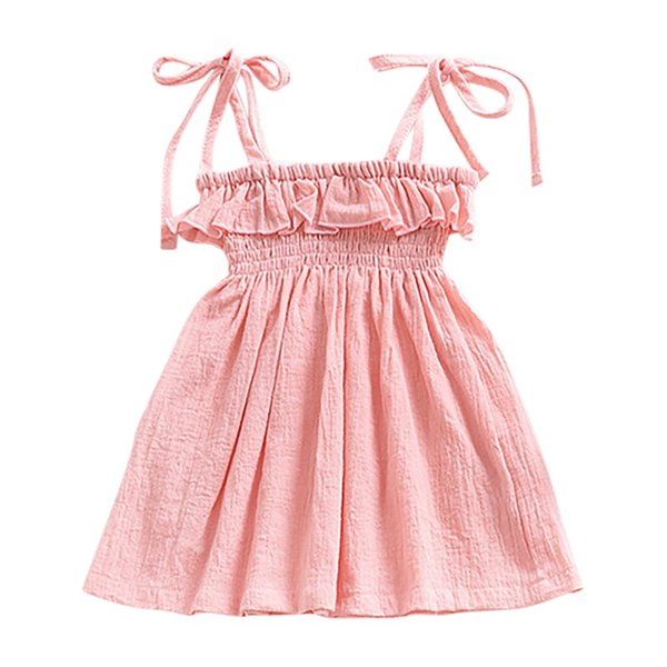 Summer Baby Girls Casual tinta unita Abito senza maniche Toddler Infant Girl Cute Princess Abiti bambini senza maniche Nuovo