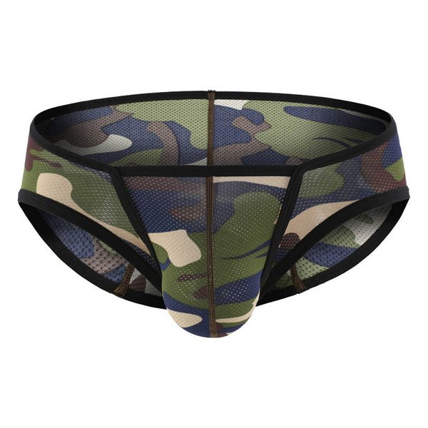 Sexy Cueca Mens Low rise Underwear Camo Lingerie Briefs Summer Males Camouflage Triangle Panties Homme Bulge Pouch Jockstrap New