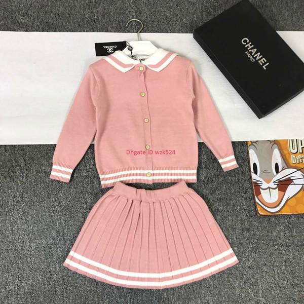 Mädchen Röcke Sets Kinder Designer-Kleidung Strickjacke + Ein Rock 2er High Density Kaschmir Wolle Stoff Sets Herbst Strickjacke Sets