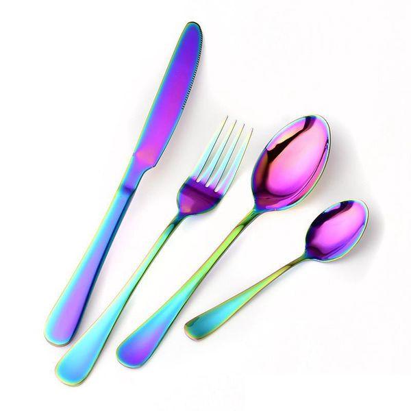 Rainbow Stainless Steel Flatware Set Titanium Plated Spoon Fork Knife Set Dinnerware Flatware Set Coffee Spoons Stir Teaspoon MMA1934