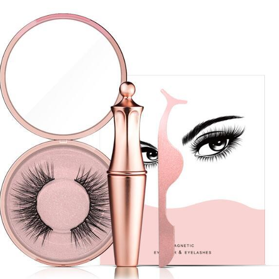 best selling 2019 hotMagnetic Liquid Eyeliner & Magnetic False Eyelashes & Tweezer Set Magnet False Eyelashes Set Glue Make Up Tools 3 sets drop shipping