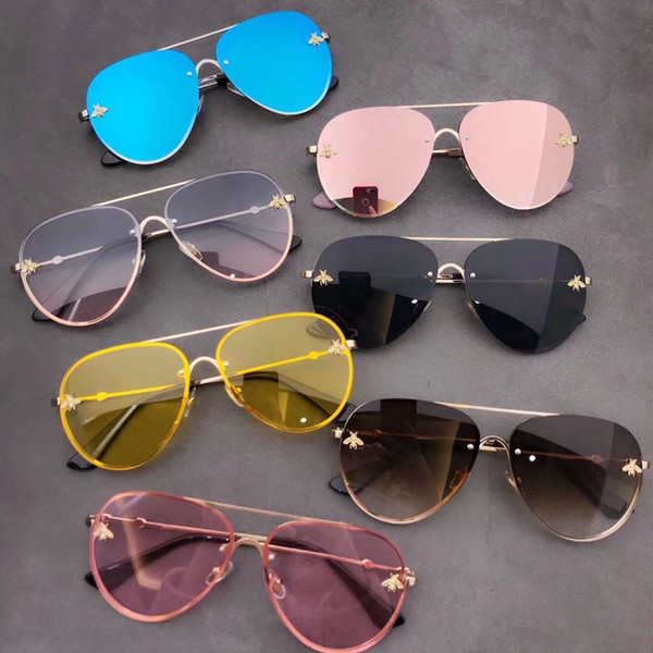 10pc New Fashion Bee Sunglasses Ladies Large Oversized Square Frame Sunglasses Bold Style Woman Sunglasses Luxury Men and Women Brand