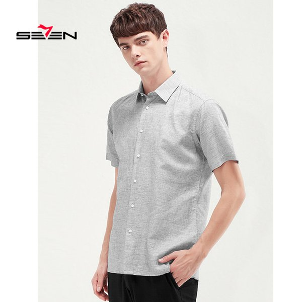 Summer NEW fashion Mens sweatshirt Mens Dress Shirts Linen Slim Fit Casual Short Sleeves Shirt Business Shirts 116A30030