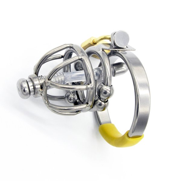 New Style Male Chastity Cock Cage Sex Slave Penis Ring Lock Device With Massage Ball Removable Urethral Catheter Sex Toy For Men