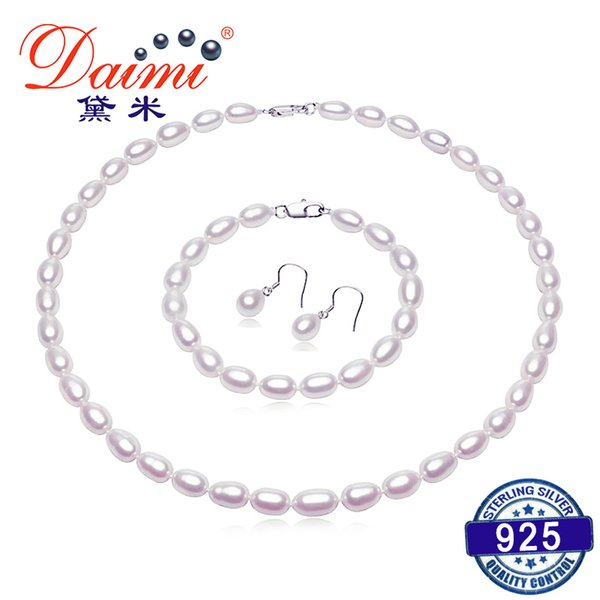 Daimi 6-7mm White Small Rice Pearl Jewelry Sets Necklace Bracelet Earrings Pearl Sets For Women Everyday Jewelry J190718