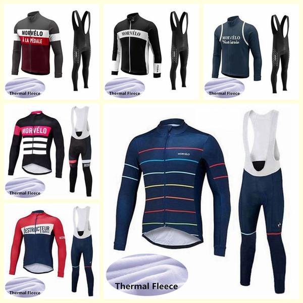 Morvelo ekibi Bisiklet Kış Termal Polar forması önlük pantolon setleri Yeni erkekler yüksek kaliteli bisiklet spor takım elbise U121110