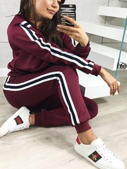 Tracksuit Long Sleeve Hooded Sweatshirts Ankle Length Pants Set Women Two Piece Outfits Casual Sport Suit red burgundy