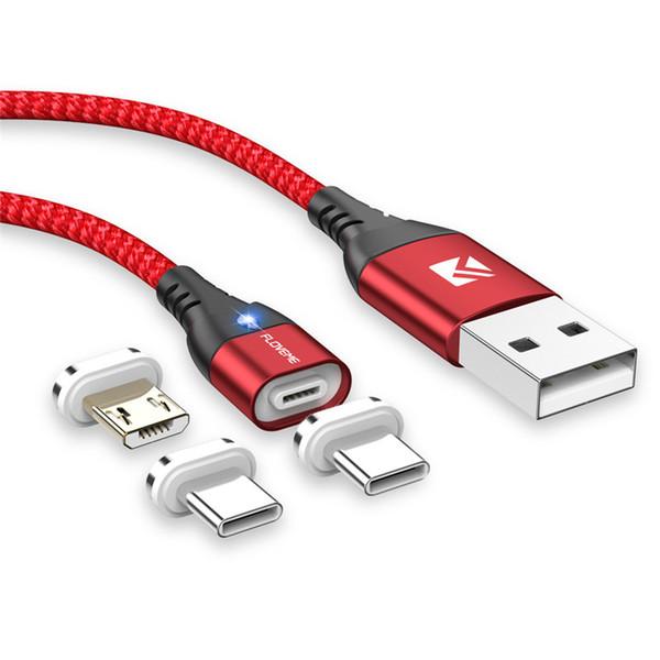 Magnetisches Micro USB Kabel für Android Samsung S10 Kabel 1M 3A Schnelllademagnet Ladegerät USB Typ C Handykabel