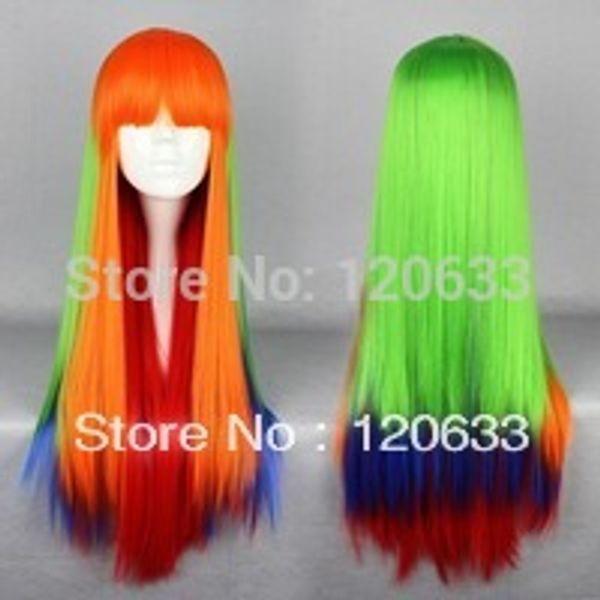 Wholesale Hair Nature Cheap 100% Kanekalon 75CM Long multi -color Beautiful lolita wig Anime Wig virgin pad