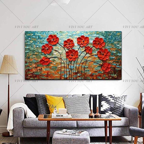 100% dipinto a mano pittura strutturata della lama di gamma a olio del fiore rosso astratta moderna della tela di canapa di arte della parete Living Room Decor Picture