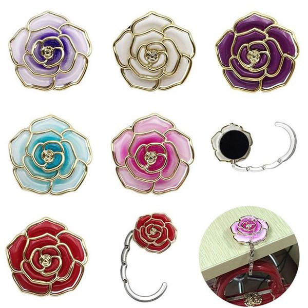 phnom penh gradation colored table side hang bag buckles rose shape folded hang bag hook creative metal desk hanger t9i00115