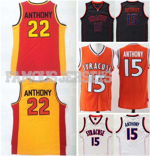 Stitched jerseys Syracuse College Basketball Jerseys #15 Carmelo Anthony University jerseys Oak Hill high school #22 player game uniform