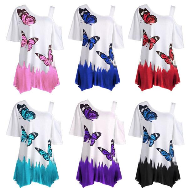 Cross-border women's 2019 designer summer foreign trade explosions digital printing butterfly single shoulder strap ladies T-shirtwholesale