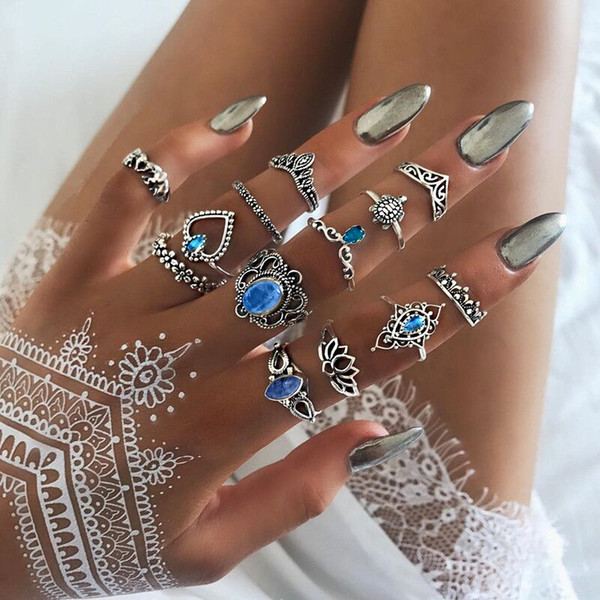 13pcs/set Ancient Silver Knuckle Ring Set Crown Heart Elephant Turtle Stacking Rings Midi Ring Designer Jewelry Women Will and Sandy 080427