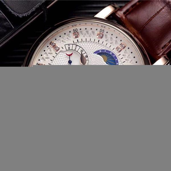 Reloj de lujo de los hombres esqueléticos del reloj Tourbillon Cuerda Manual de cuero mecánico automático reloj clásico Relojes de negocios natural Gentleman