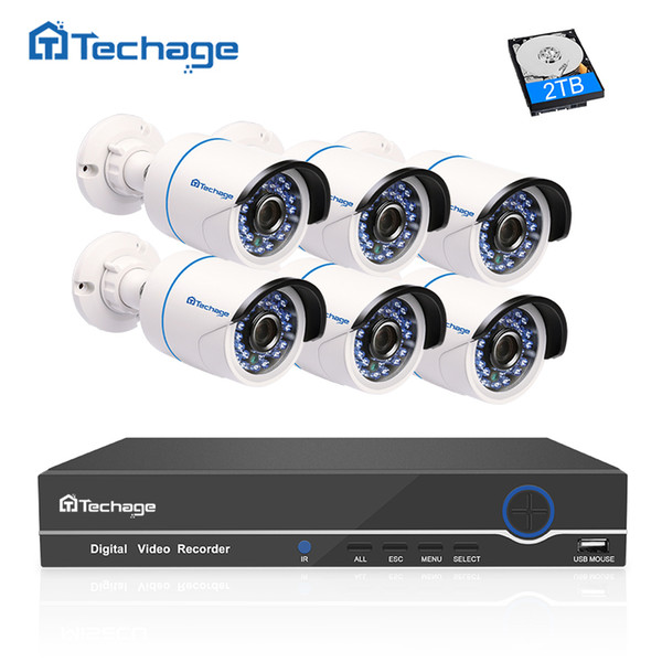 set Techage 1080 HD CCTV System 8CH POE NVR 2MP Indoor Outdoor 6PCS Security IP Camera P2P Video Surveillance System Kit